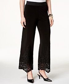 Alfani Petite Lace-Hem Wide-Leg Pants, Created for Macy's