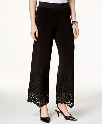 Alfani Petite Lace-Hem Wide-Leg Pants, Created for Macy's $69.5