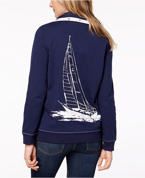 Petite Sailboat Jacket Topstitched Navy Alfred Dunner OxaPqUwB
