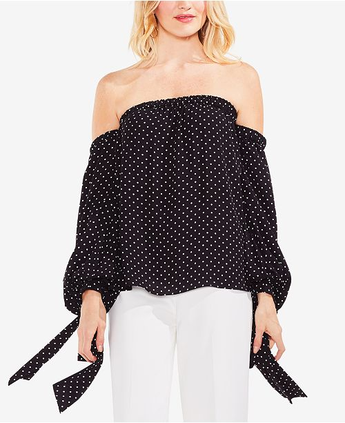 3cedc2c64489f Vince Camuto Off-The-Shoulder Polka-Dot Top   Reviews - Tops ...