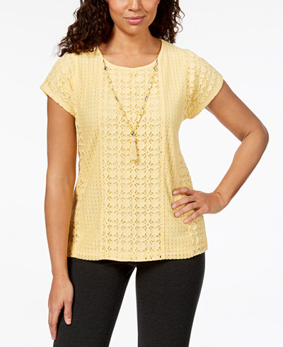 Alfred Dunner Charleston Crochet Lace Necklace Top