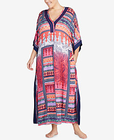 Ellen Tracy Plus Size Printed Contrast-Trim Caftan