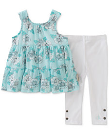 Calvin Klein 2-Pc. Mint Printed Tunic & Leggings Set, Baby Girls