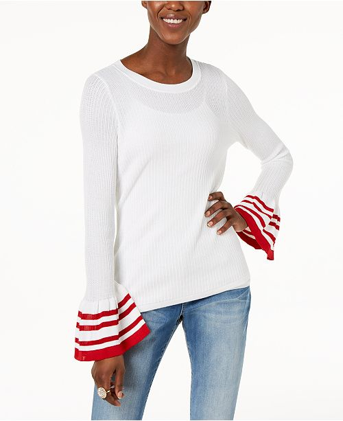 INC International Concepts I.N.C. Striped Bell-Sleeve Sweater, Created for Macy's