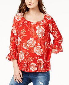I.N.C. Petite Printed Peasant Top, Created for Macy's