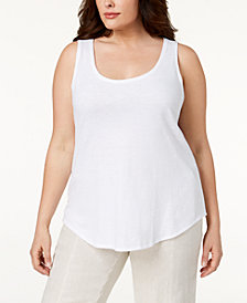 Eileen Fisher Plus Size SYSTEM Organic Cotton Tank Top