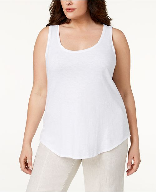 3bcc8fdfbdf44 Eileen Fisher Plus Size SYSTEM Organic Cotton Tank Top   Reviews ...