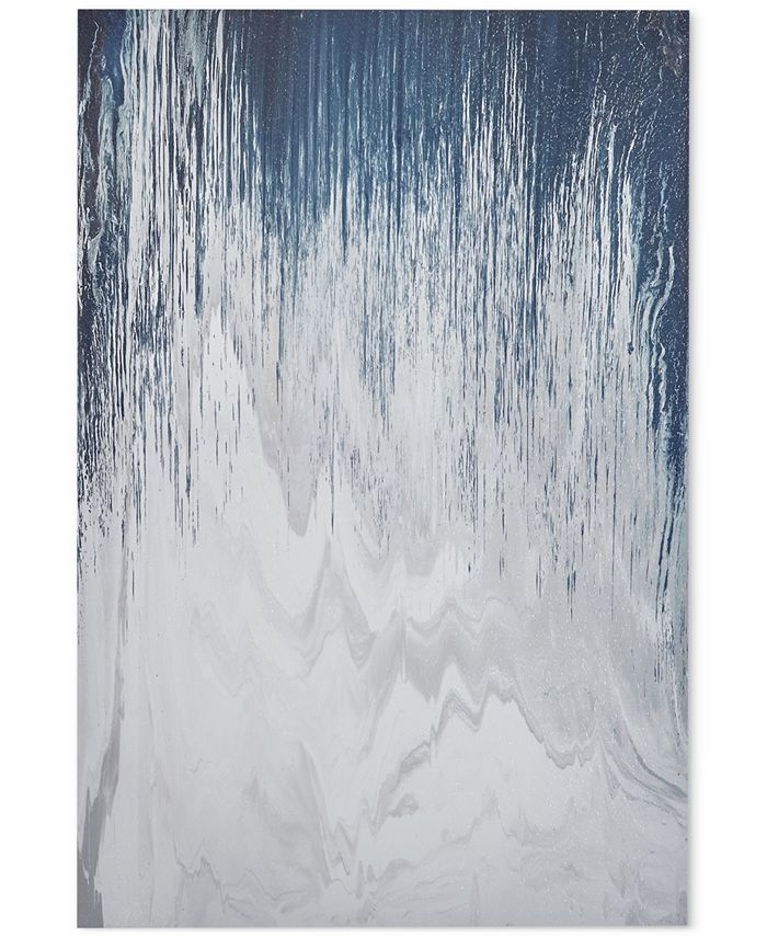 """JLA Home - INK+IVY 'Abstracted Chevron Navy' 24"""" x 36"""" Heavy Gel-Coated Canvas Print"""