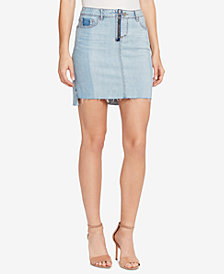 WILLIAM RAST Two-Tone Frayed Denim Skirt