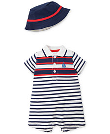Little Me 2-Pc. Sailboat Striped Cotton Romper & Hat Set, Baby Boys