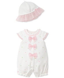 Little Me 2-Pc. Heart-Print Cotton Romper & Hat Set, Baby Girls
