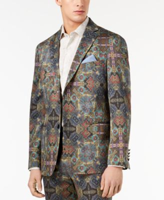 Orange Men's Modern-Fit Olive Printed Suit Jacket