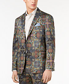Tallia Orange Men's Modern-Fit Olive Printed Suit Jacket
