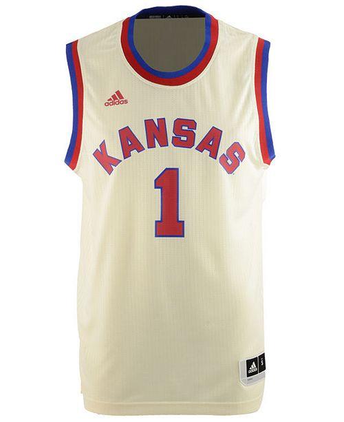save off 1b6d2 0d17f adidas Men's Kansas Jayhawks Hardwood Replica Basketball ...
