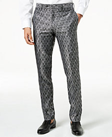 Tallia Orange Men's Modern-Fit Black Medallion Suit Pants