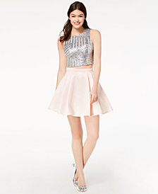 B Darlin Juniors' Sequined & Taffeta 2-Pc. Dress