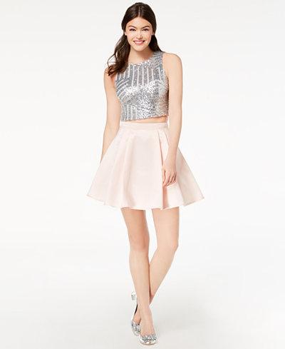 B Darlin Juniors' Sequined & Taffeta 2-Pc. Dress