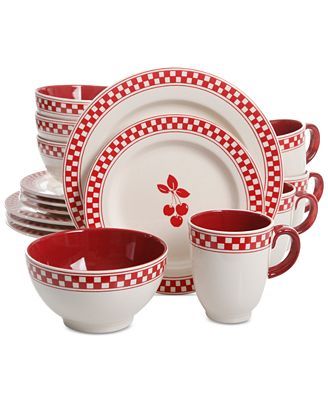General Store Cherry Diner 16-Pc. Dinnerware Set