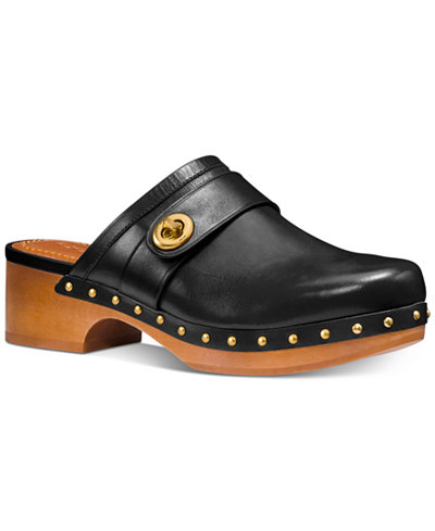 COACH Turnlock Leather Clogs