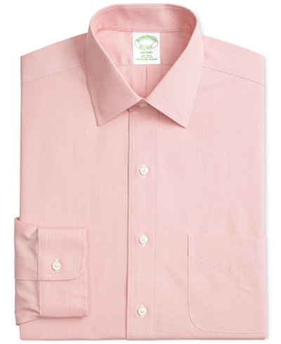 Brooks Brothers Men's Milano Slim-Fit Non-Iron Ainsley Broadcloth Stretch Dress Shirt