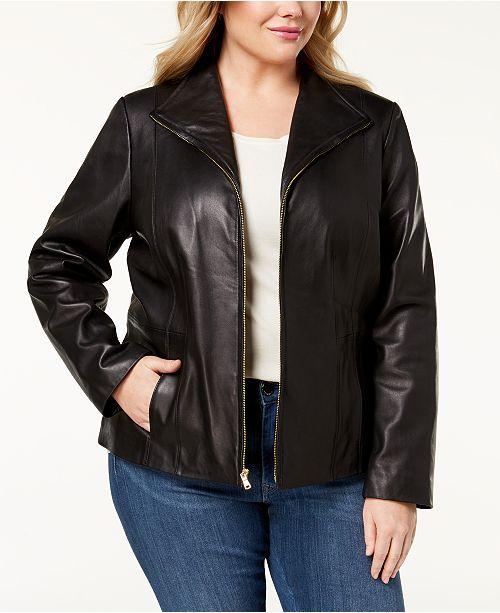 e3782de653a Cole Haan Plus Size Leather Jacket   Reviews - Coats - Women ...