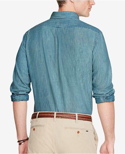 54609d4f ... Polo Ralph Lauren Men's Long Sleeve Classic-Fit Chambray Shirt ...