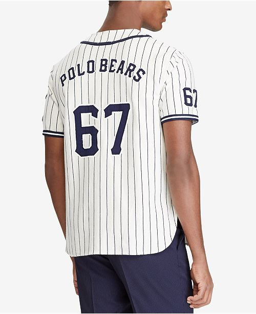 Polo Ralph Lauren Men s Polo Bear Baseball Jersey - Casual Button ... 9e30693e71a53
