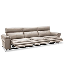 CLOSEOUT! Raymere 3-Pc. Leather Sectional Sofa With 3 Power Recliners, Power Headrests And USB Power Outlet, Created for Macy's