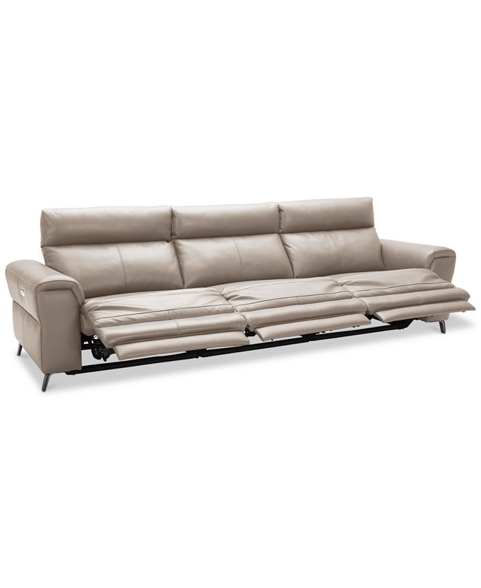 Furniture - Raymere 3-Pc. Leather Sectional Sofa With 3 Power Reclining Chairs, Power Headrests, And USB Power Outlet