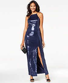 Teeze Me Juniors' Sequined Illusion Column Gown