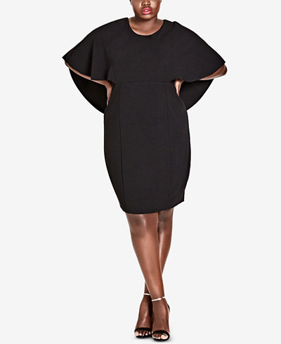 City Chic Trendy Plus Size Cape Sheath Dress