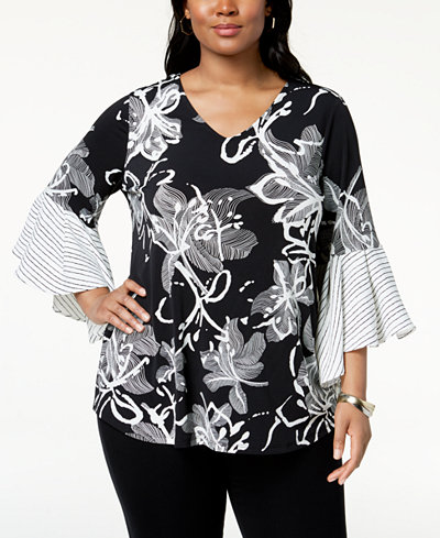 Alfani Plus Size Printed Flared-Sleeve Top, Created for Macy's