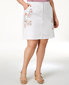 Karen Scott Plus Size Embroidered A-Line Skort, Created for Macy's