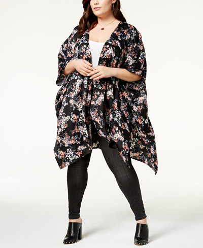 Soprano Trendy Plus Size Open-Front Kimono
