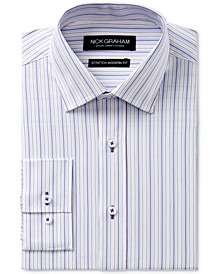 Men's Slim-Fit Stretch Easy-Care Multi Stripe Dress Shirt