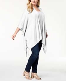 Belldini Plus Size Grommet Poncho Cardigan