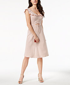 Moon River Striped Flounce Dress