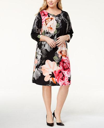 Calvin Klein Plus Size Printed A-Line Dress