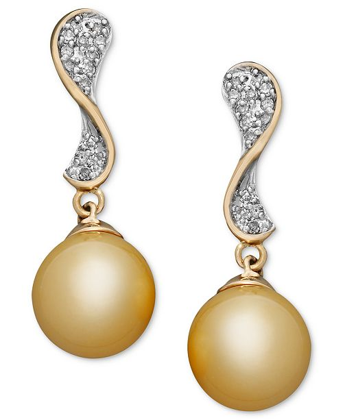 Macy's 14k Gold Earrings, Cultured Golden South Sea Pearl (10mm) and Diamond (1/4 ct. t.w.) Wave Earrings