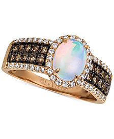 Le Vian Chocolatier® Neopolitan Opal™ (6 ct. t.w.) & Diamond (1/2 ct. t.w.) Ring in 14k Rose Gold