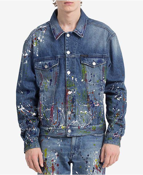 Calvin Klein Jeans Men s Sterling Blue Denim Trucker Jacket - Coats ... 9c606e776d
