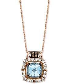 """Aquamarine (1-1/4 ct. t.w.) & Diamond (3/8 ct. t.w.) 18"""" Pendant Necklace in 14k Rose Gold"""