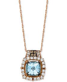 "Le Vian® Aquamarine (1-1/4 ct. t.w.) & Diamond (3/8 ct. t.w.) 18"" Pendant Necklace in 14k Rose Gold"