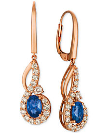 Le Vian Strawberry & Nude™ Blueberry Sapphire (1-1/10 ct. t.w.) & Diamond (5/8 ct. t.w.) Drop Earrings in 14k Rose Gold