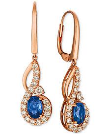 Le Vian Strawberry & Nude™ Blueberry Sapphire (1-1/10 ct. t.w.) & Diamond (5/8 ct. t.w.) Drop Earrings in 14k Rose Gold