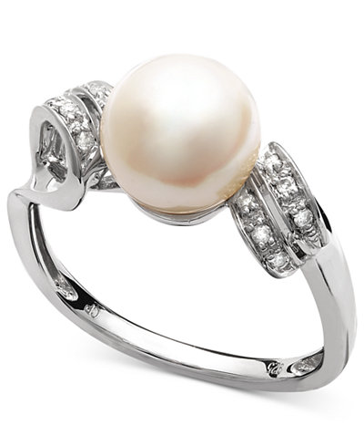 Belle de Mer Sterling Silver Ring, Cultured Freshwater Pearl (8mm) and Diamond Accent Double Loop Ring