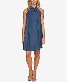 CeCe Cotton Tie-Neck Denim Dress