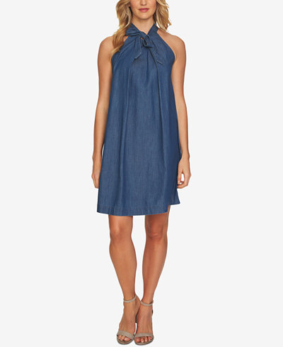 CeCe Cotton Tie-Neck Denim Dress