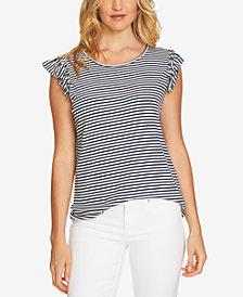CeCe Ruffled Striped Top