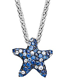 Sapphire Splash by EFFY® Multicolor Sapphire Pave Starfish Pendant Necklace in Sterling Silver (2-3/4 ct. t.w.)